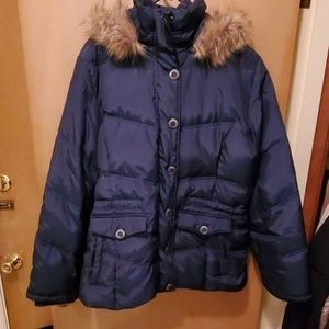 Navy blue coat with fur hood